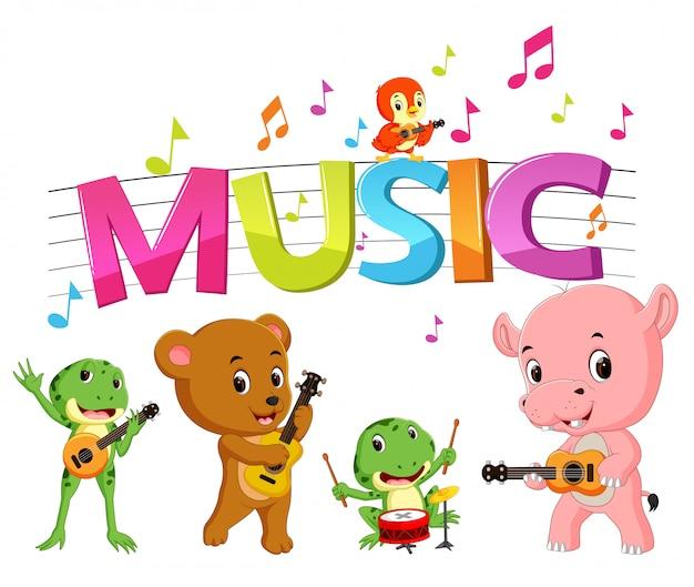 Wortmusik mit tiermusik Premium Vektoren