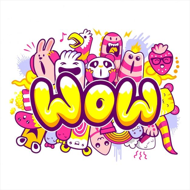 Wow-schriftzug mit cartoon-monstern Premium Vektoren
