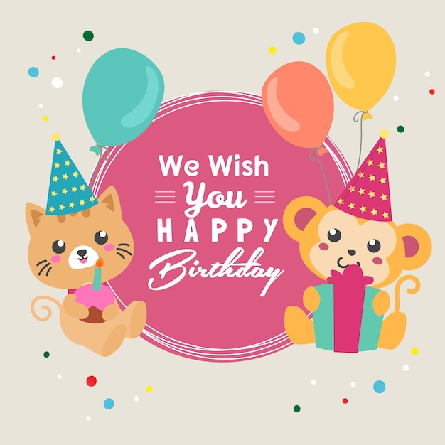 Wünsche dir alles gute zum geburtstag mit katzen- und affenballon Premium Vektoren