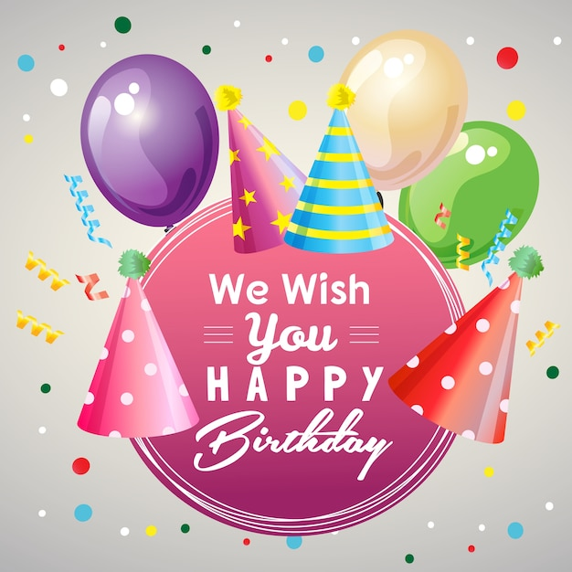 Wünsche Dir Alles Gute Zum Geburtstag Mit Partyhüten Download Der