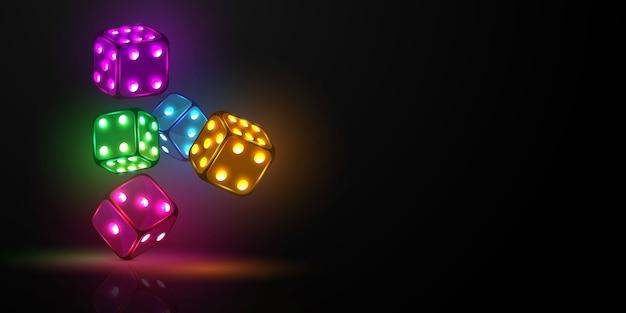 Würfel casino, neonlicht Premium Vektoren