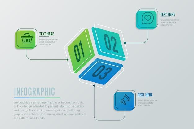 Würfel infografik konzept Kostenlosen Vektoren