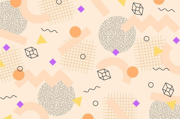 Würfel und geometrische formen memphis hintergrund Kostenlosen Vektoren