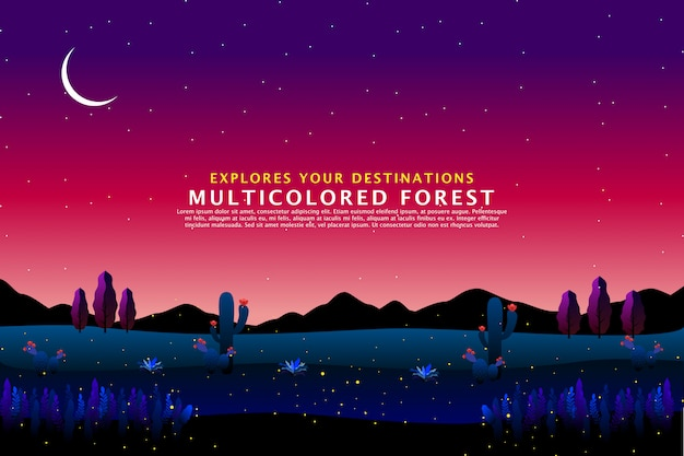 Wüste nachtlandschaft vorlage Premium Vektoren