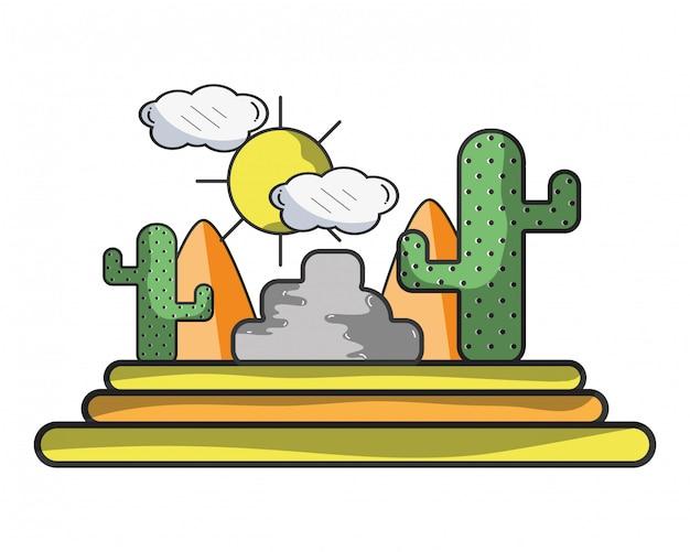 Wüste und kaktus Premium Vektoren