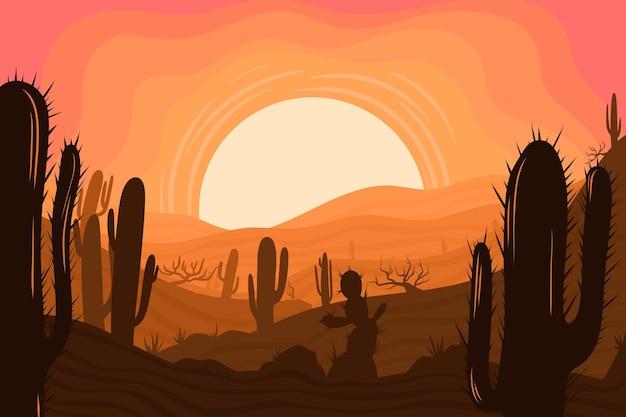 Wüstenlandschaft - hintergrund für videokonferenzen Kostenlosen Vektoren