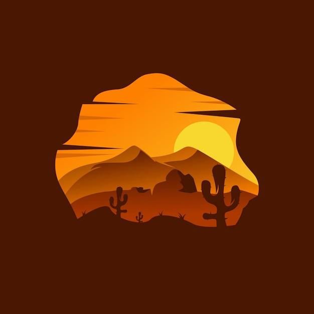 Wüstenlandschaft illustration Premium Vektoren