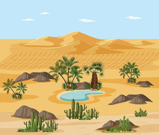 Wüstenlandschaft mit naturbaumelementszene Premium Vektoren