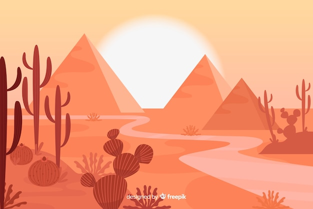 Wüstenlandschaft mit pyramidenhintergrund Kostenlosen Vektoren