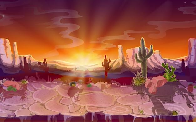Wüstenlandschaft, nahtloser spielhintergrund, panorama mit natur Kostenlosen Vektoren