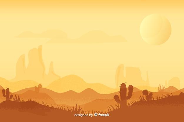 Wüstenlandschaft zur tageszeit mit sonne Kostenlosen Vektoren