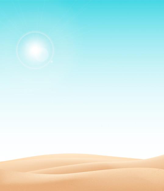 Wüstenlandschaftshintergrund. natürliche sanddünen in sonnentapete mit explorer.illustration. wüstenlandschaft Premium Vektoren