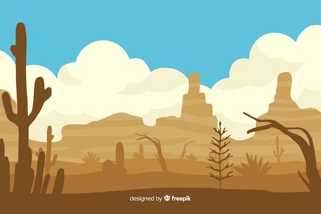 Wüstenlandschaftstageszeit mit kaktus Kostenlosen Vektoren