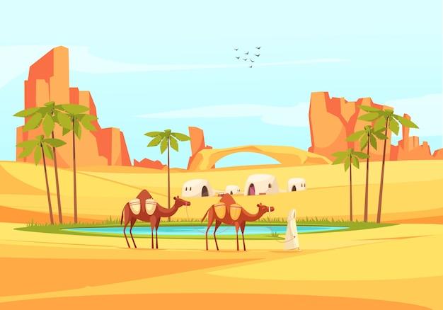 Wüstenoase kamele zusammensetzung Kostenlosen Vektoren