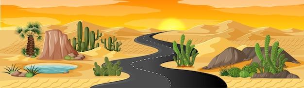 Wüstenoase mit langer straßenlandschaftsszene Kostenlosen Vektoren
