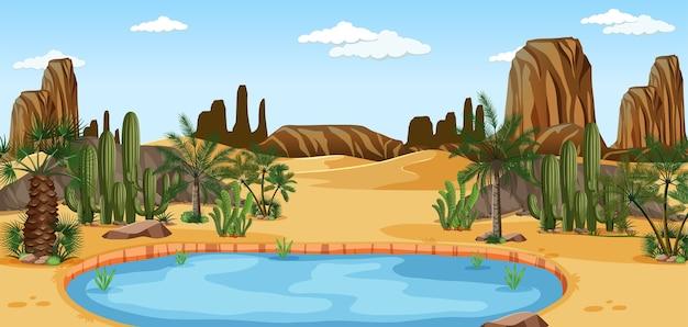 Wüstenoase mit palmen und kaktus-naturlandschaftsszene Kostenlosen Vektoren