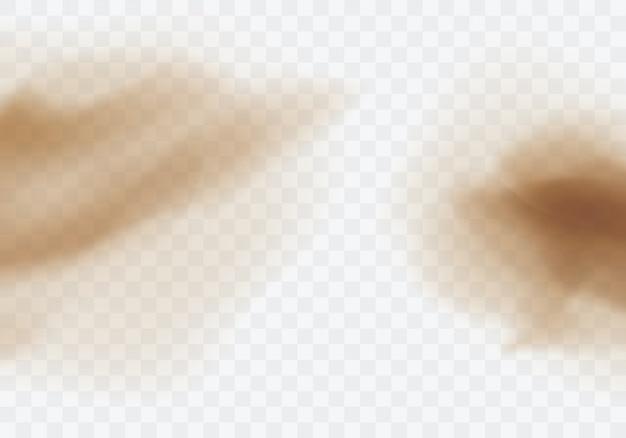 Wüstensandsturm, braune staubige wolke auf transparent Kostenlosen Vektoren