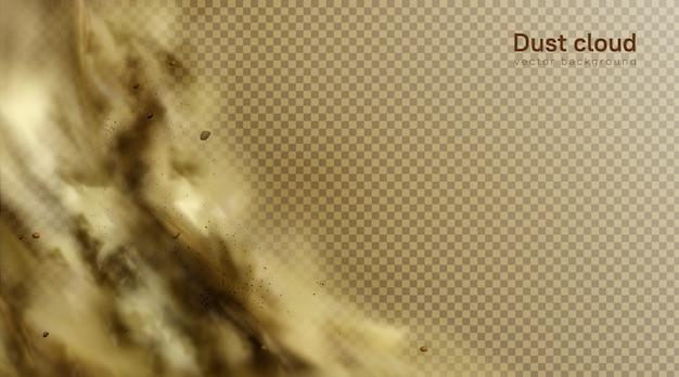 Wüstensandsturmhintergrund, braune staubige wolke auf transparentem Kostenlosen Vektoren