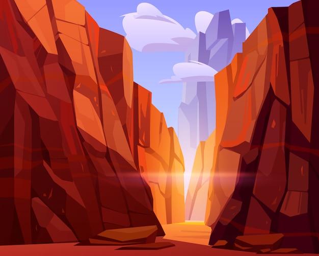 Wüstenstraße im canyon mit roten bergen Kostenlosen Vektoren