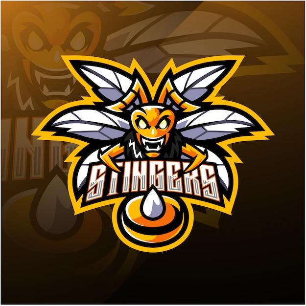 Wütend biene maskottchen logo vorlage Premium Vektoren