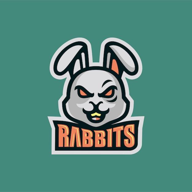 Wütend kaninchen kopf esportss logo maskottchen vektor-illustration Premium Vektoren