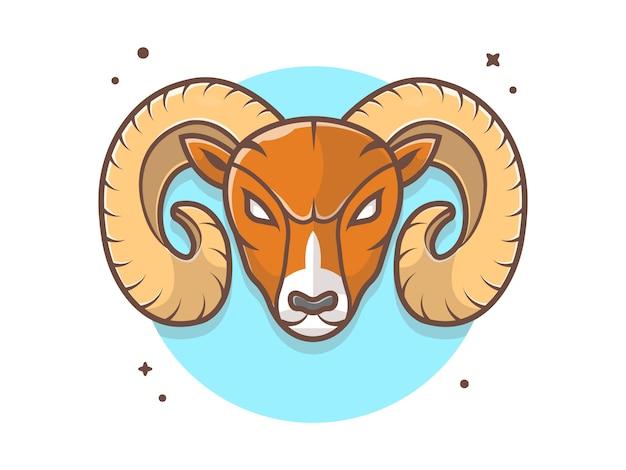 Wütend ram maskottchen logo symbol Premium Vektoren