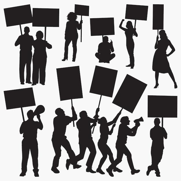 Wütende demonstranten silhouetten Premium Vektoren