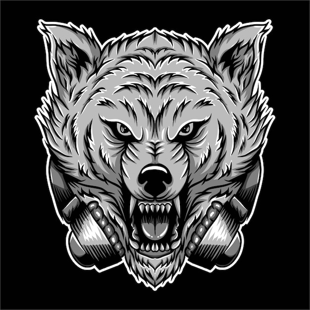 Wütende wolf kopfhörer-vektor-illustration Premium Vektoren