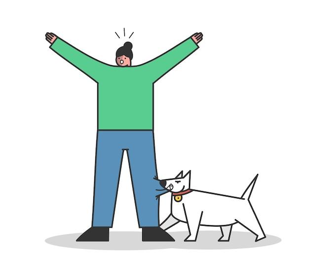 Wütender hund beißt frau. aggressiver wachhund, der menschen angreift. zeichentrickfiguren isoliert Premium Vektoren