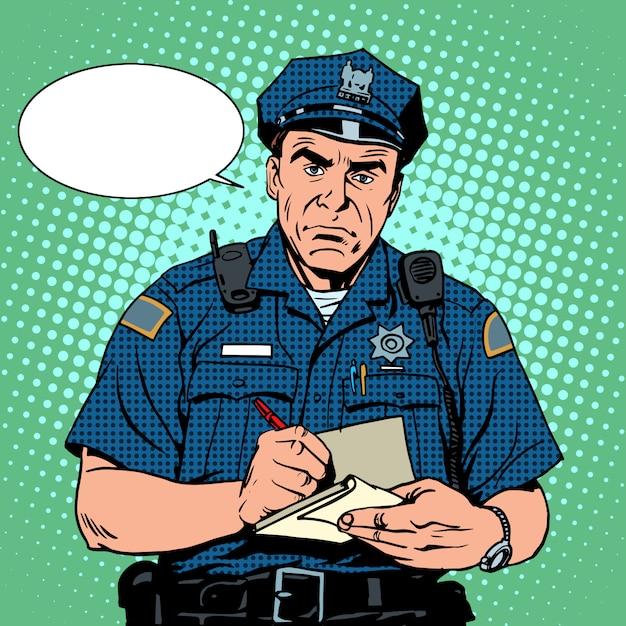 Wütender polizist Premium Vektoren