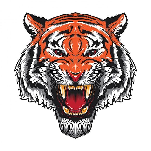 Wütender tiger-kopf Premium Vektoren