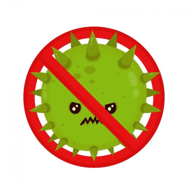 Wütendes bakterium im verbotszeichen. Premium Vektoren