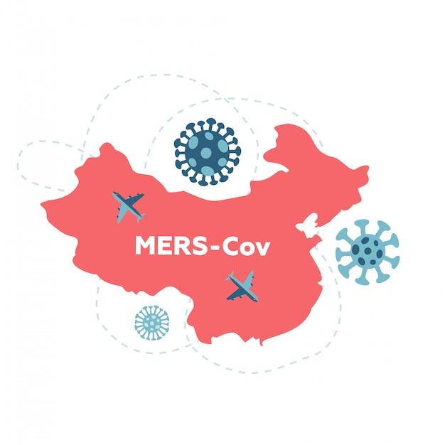 Wuhan reiseverbot aufgrund von coronavirus cov auf der ganzen welt verbreitet. rote silhouette von china mit pfeilen. epidemie-zone. awareness-kampagne banner. gesundheit und medizin . flache darstellung. Premium Vektoren
