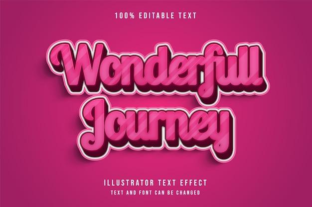 Wunderbare reise, 3d bearbeitbarer texteffekt moderne rosa abstufung niedlichen textstil Premium Vektoren