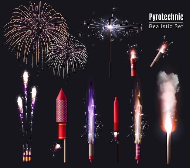 Wunderkerze bengal lichter pyrotechnik realistische reihe von isolierten feuerwerk spots und pyrotechnische geräte in aktion Kostenlosen Vektoren