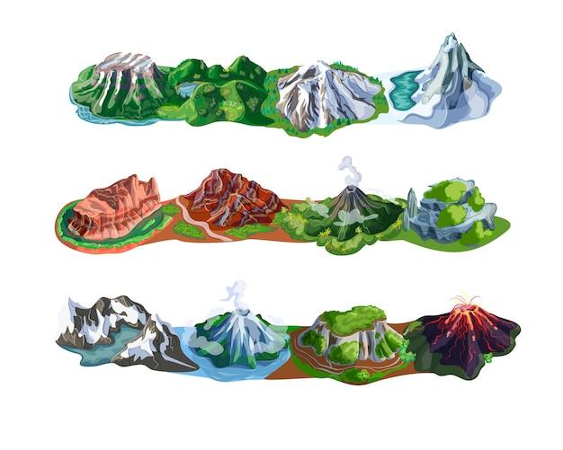 Wunderschöne berglandschaften mit verschiedenen arten von gipfeln vulkane felsen und berge isoliert Kostenlosen Vektoren