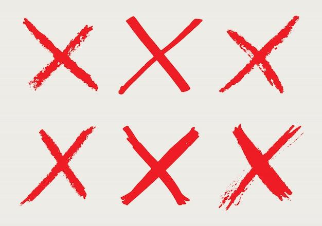 X marken im grunge-stil Premium Vektoren