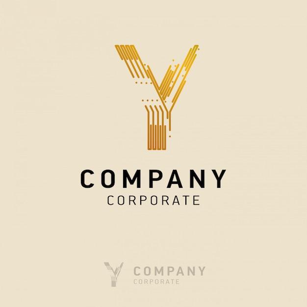 Y-firmenlogodesign mit visitenkartevektor Kostenlosen Vektoren