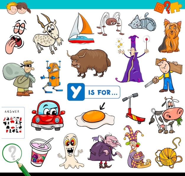Y ist für lernspiele für kinder Premium Vektoren