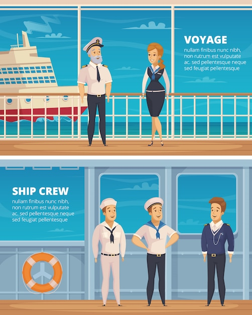 Yachtreisenschiffbesatzungsmitgliedcharaktere 2 horizontale karikaturfahnen mit dem kapitän und seeleuten lokalisiert Kostenlosen Vektoren