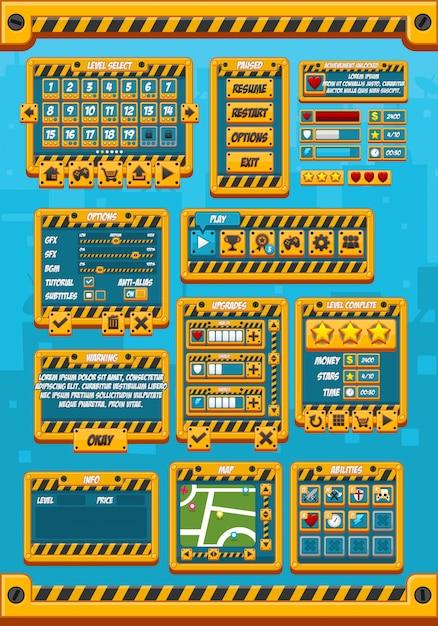 Yellow metal game gui Premium Vektoren