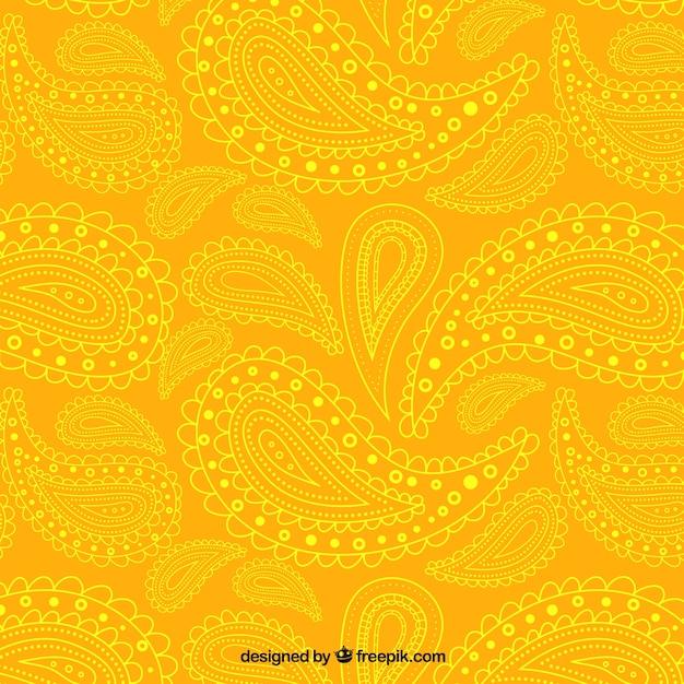 Yellow paisley-muster Premium Vektoren