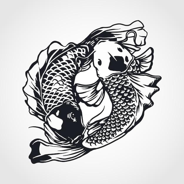 Yin yang koi fisch Premium Vektoren