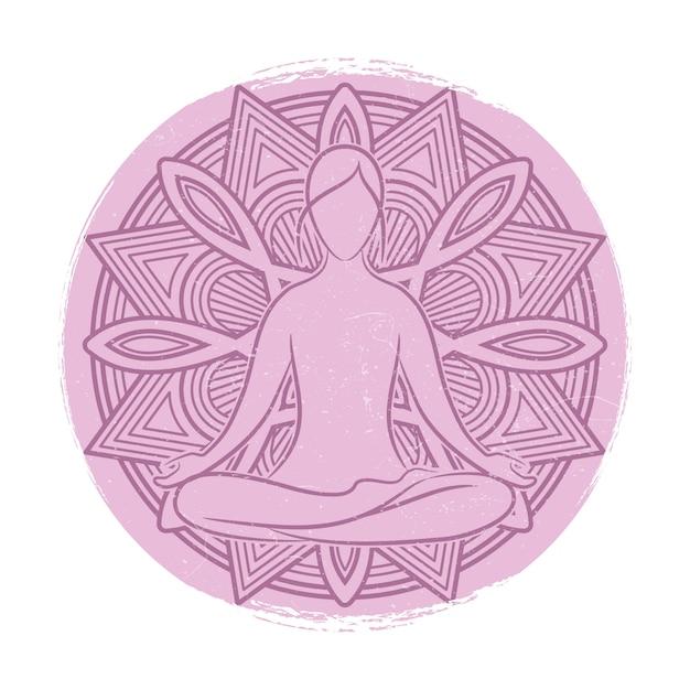 Yoga balance weibliche silhouette. blumenmandala und meditationsfrau asana Premium Vektoren