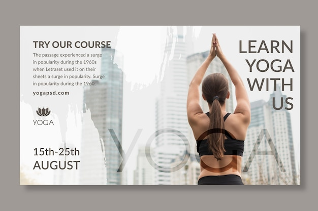 Yoga banner vorlage mit foto Kostenlosen Vektoren