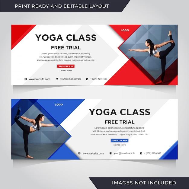 Yoga banner vorlage set. Premium Vektoren