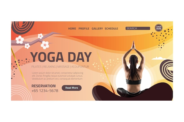 Yoga body balance landing page Kostenlosen Vektoren