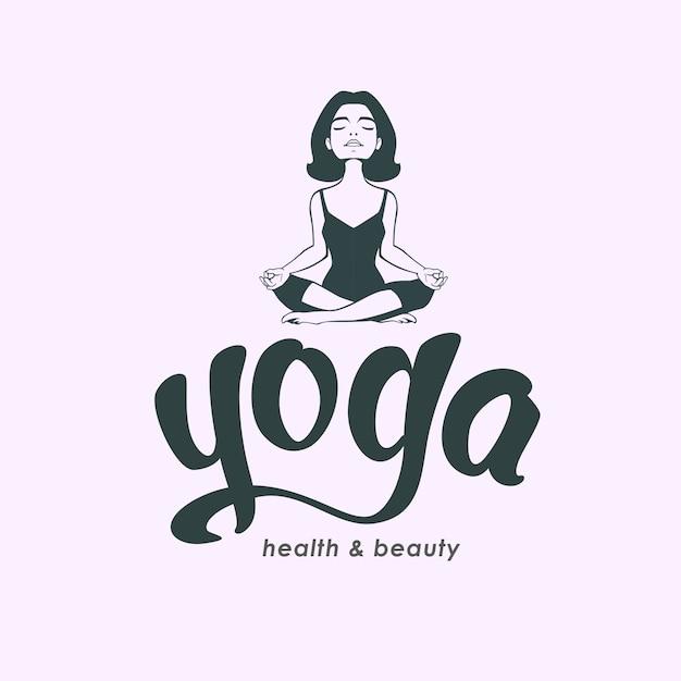 Yoga club logo konzept und handgezeichnete beschriftung. Premium Vektoren