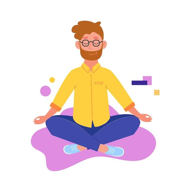Yoga. ein mann sitzt im lotussitz. der mensch meditiert. yoga praktizieren. vektor-illustration Premium Vektoren