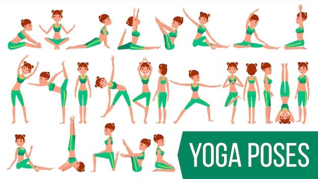 Yoga-frau wirft charakter auf. Premium Vektoren
